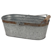 Stonebriar Aged Galvanised Oval Bucket with Rust Trim and Handle