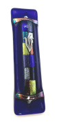 Twelve Tribes Mezuzah - Midnight Blue Art Glass with Shimmering Fused Glass Gift Box and Non-Kosher Scroll Included HAND MADE IN THE USA by Tamara Baskin Art Glass