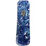 Mezuzah Marbled Blue Art Glass Gift Box and Non-Kosher Scroll Included Hand Made in USA