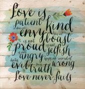 Love is Patient Love is Kind Love Never Fails 30cm x 30cm Wood Board Plank Wall Sign Plaque