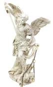 Holy Archangel Saint Michael The Protector Warrior Collectible Figurine General of God's Army Sacrament of Holy The Eucharist In Ivory Tone Finish