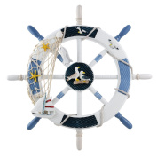 WINOMO 46cm Wheel Wall Decor Nautical Decor Nautical Boat Steering Wheel with Invisible Strengthening Nail