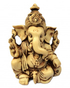 """3.5"""" Lord Ganesh / Ganesha Statue Sculpted in Great Detail with Antique Finish – Ganesh Idol for Car / Home Decor / Mandir / Gift"""