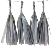 Just Artefacts TISSUE PAPER TASSEL GARLAND Silver - DIY 4 Kit Tassels - Click to Mix & Match Colour Combinations! Great decorations for ALL PARTIES & EVENTS.
