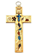 20cm Catholic Wood Cross Wall Plaque Decor from Jerusalem with Natural Colourful Gemstones Holy Land Gift