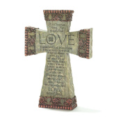 Love is Patient Kind Never Fails 23cm Resin Tabletop Cross