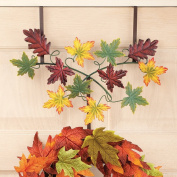 Fall Autumn Leaves Metal Wreath Hanger in Green, Red and Orange Colours