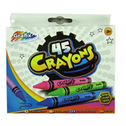 Large Box of Colouring Crayons, Pack of 45, by Grafix