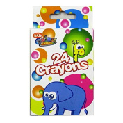 Childrens Box of Wax Colouring Crayons - Pack of 24, Animal Antics