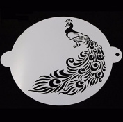 Bakell - Large 20cm x 20cm round Peacock Stencil - Baking, Caking and Craft Tools from Bakell, Zoo Jungle Bird Animal Feathers Rainbow Wedding Male