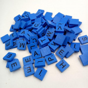 100PCS Letters Tile Games Emubody Wooden Scrabble Tiles Black Letters Numbers For Crafts Wood Alphabets, Blue