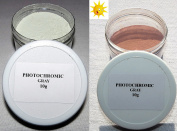 PhotoChromic Pigment that changes colours when exposed to Sunlight or UV light, and reverts to its original colour when sunlight is blocked.