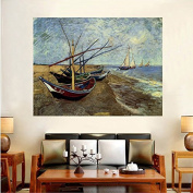 Faraway DIY Oil Painting for Adults Kids Paint By Number Kit Fishing Boats On The Beach At St.Maries Diamond Embroidery By Van Gogh