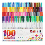 Caliart Fineliner Pens 100 Colours Fine line Drawing Pen Set, 0.38mm Fine Point Markers for Planner Drawing Writing Colouring Book Bullet Journal Art Projects