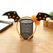 Qiyun Cute Halloween Kids Headband Funny Skull Bat Witch Pumpkin Hair Hoop Headpiece Halloween Costume Party Creative Giftstyle:Orange bat wings