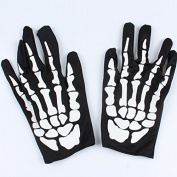 Unisex Halloween Costume Skeleton Skull Ghost Gloves,ASDOMO Halloween Skull Gloves Performance Props Party Party Horror Ghost Ghost Gloves Bone Cloth Gloves