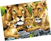 Wowdecor Paint by Numbers Kits for Adults Kids, Number Painting - Lions Family 41cm x 50cm