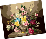 Wowdecor Paint by Numbers Kits for Adults Kids, Number Painting - A Variety of Beautiful Flowers in the Vase 41cm x 50cm