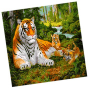 Wowdecor Paint by Numbers Kits for Adults Kids, Number Painting - Family of Tiger 41cm x 50cm