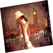 Wowdecor Paint by Numbers Kits for Adults Kids, Number Painting - Beautiful Girl in the Bell Tower, Night View 41cm x 50cm