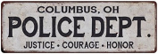 COLUMBUS, OH POLICE DEPT. Vintage Look Metal Sign Chic Decor Retro 6182745