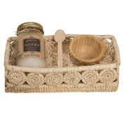 Holy City Skin Products Revitalising 16 0z Dead Sea Salt Hand And Body Scrub Gift Basket Set With Wooden Bowl, Spoon Set and Palm Medallion Basket 30cm x 7.6cm Bamboo Green Tea