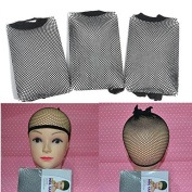 sumanee 3pcs Black stretchable elastic cosplay Wig hair nets snood wig mesh cap Tool