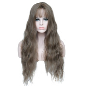 WTB Hair Synthetic long curly Wigs for Women grey blonde Female Wig Hair Wigs for Women Jenner Women's Wigs 70cm Long Curly Hair Style