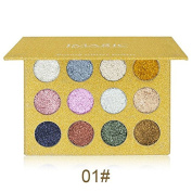 Petansy 12 Colours Pressed Glitter Eyeshadow Palette Shimmer Eyeshadow Palette Long Lasting Waterproof Mineral Pressed Glitter Eyeshadow Palette
