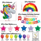 25Pack colourful Happy Birthday banner & 80cm Unicorn balloons Bright Rainbow Stars Foil balloon For First birthday party decorations Baby shower Unicorn party supplies