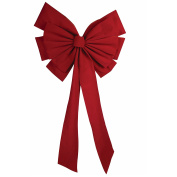 Forum Christmas Big Velvet 12-Loop Bow Hanging Decoration, Red