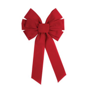 Forum Christmas Big Velvet 10-Loop Bow Hanging Decoration, Red