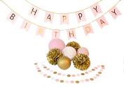 Paper jazz Birthday Party Decoration Happy Birthday Bunting Banner Pom Poms lantern