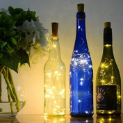 Snowfoller Solar Wine Bottle Cork Shaped String Light 20 LED Night Fairy Light Lamp For Bedroom Parties