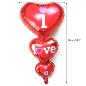BetterM Wedding Decorative Love Heart Foil Balloons For Party Decor