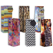 Jillson Roberts 6-Count All-Occasion Wine and Bottle Gift Bags in Assorted Designs, Stripes, Graphics and Humorous