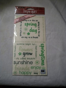 Sticko Inspirables Green Rub On Transfers - Spring Phrase & Words
