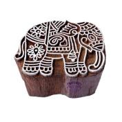 Handcarved Elephant Animal Motif Wooden Stamp for Printing