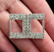 5 Pieces H Shaped Rhinestone Ribbon Slide Buckles for Gift Decoration and Wedding Accessories 2.7cm X 2cm