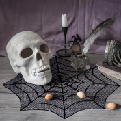 OurWarm 80cm Black Spider Web Table Topper, Halloween Lace Table Decoration for Halloween Parties, Décor, Dinners