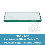TroySys Rectangle 1cm Thick Bevel Polished Tempered Glass Table Top, 90cm W x 150cm L
