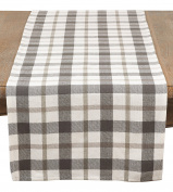 SARO LIFESTYLE Yuri Collection Plaid Design Cotton Table Runner, 41cm x 180cm , Grey