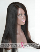 Chantiche Glueless Light Yaki Straight Brazilian Lace Front Wigs with 2.5cm x 9.5cm Right Deep Part Remy Human Hair Wigs for Black Women 41cm #1B