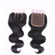 BK Beckoning Hair Brazilian Body Wave Closure Natural Colour Remy Hair Three Part 4x 4 Lace Closure 20cm 130% Density Body Wave Lace Closure Bleached Knots
