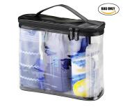 BeeChamp Dual Zipper Clear Toiletry Travel Bag Bath Accessories Organiser Kit with Handle