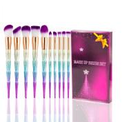 Kabuki Makeup Brush Set - 10PCS SONGQEE Unicorn Foundation Eyebrow Eyeliner Eye-shadow Brush Cosmetic Conceler Brushes Kit Tool