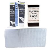 Gift Set to Raise Beauty from Charcoal! Natural Whitening Activated Charcoal Toothpaste (Peppermint), Charcoal Facial Soap DETOX and White Luxury Hotel & Spa Quality Face Towel