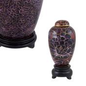 Perfect Memorials Deep Purple Mum Flower Cloisonne Keepsake Cremation Urn