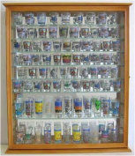 110 Shot Glass Display Case Holder Cabinet Shadow Box, Hinged Door, Solid Wood, Oak Finish