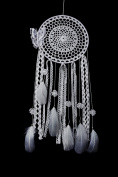 SpringHut Dream Catcher Lace Net Hoop with Butterflies and Natural White Feathers - 20cm Wide and 70cm Long Native American Charm Suitable as Large Wall Hanging Ornament for Home Decor and Great as Gifts